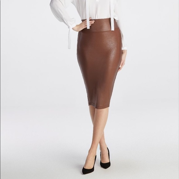 18f9d4d3ed541 SPANX Skirts | Nwt Faux Leather Skirt In Saddle Brown | Poshmark